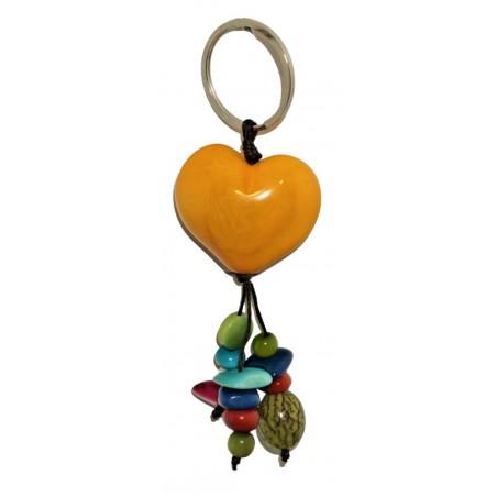 Porte-clés cœur jaune en noix de tagua