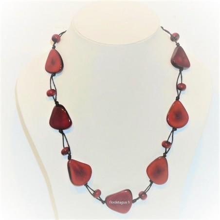 collier Mindo Simple Rouge en ivoire vegetal