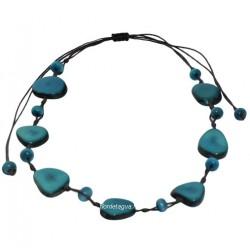 Collier Mindo Simple bleu roi en graines tropicales