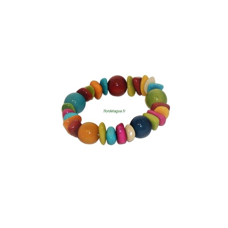 Bracelet Bahia perles rondes multicolore en tagua ivoire végétal