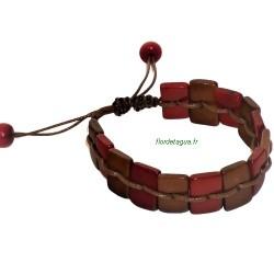 Bracelet Ethnic rouge en tagua