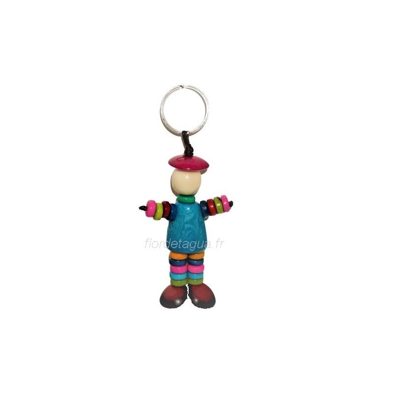 Porte clés Bonhomme Rondelles turquoise