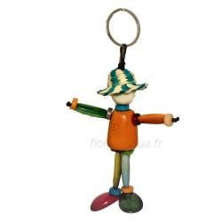 Porte-clés Bonhomme Chapeau orange en corozo