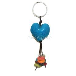Porte-clés Cœur turquoise en tagua
