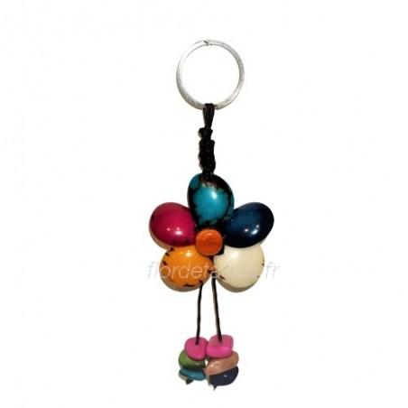 Porte-clés Fleur en tagua de face 1