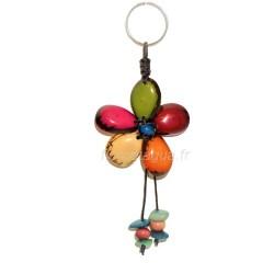 Porte-clés Fleur en ivoire végétal de face 3