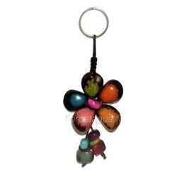 Porte-clés Fleur en corozo de face 4