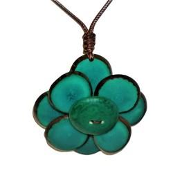 pendentif Flor de Manabi en tagua couleur verte détails