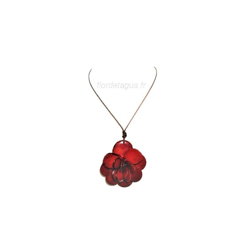 Collier Flor de Tagua Rouge ivoire végétal