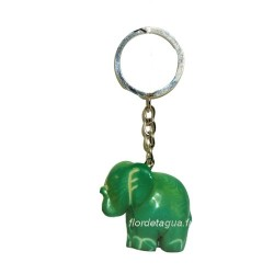 Porte clés Éléphant vert émeraude cote gauche en tagua