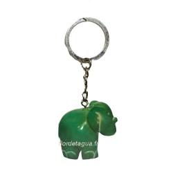Porte clés Éléphant vert émeraude coté droit en ivoire végétal