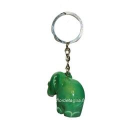 Porte clés Éléphant vert émeraude de dos en corozo