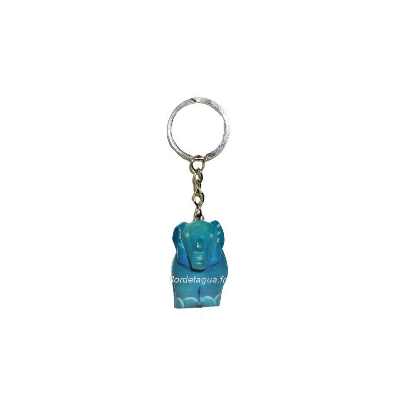 Porte clés Éléphant turquoise de face