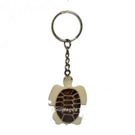 Porte clés Tortue Marine couleur ivoire en ivoire végétal vue de dessus