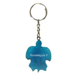 Porte clés Tortue Marine couleur turquoise vue de dessous