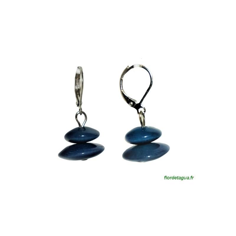 Boucles d'Oreilles Toupie bleu marine