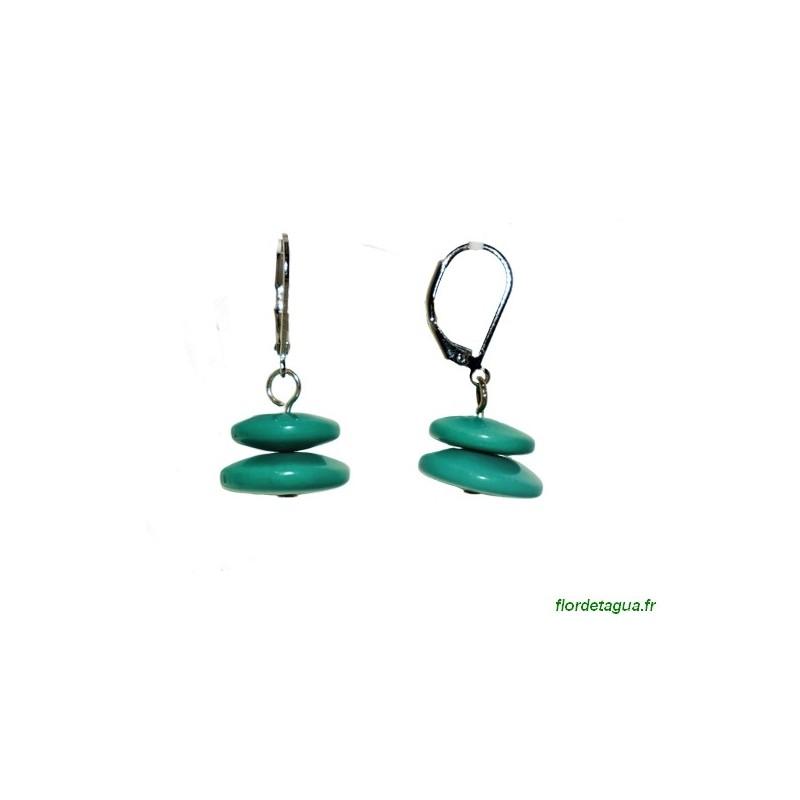 Boucles d'Oreilles Toupie Vert Émeraude en corozo