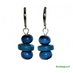 Boucles d'Oreilles Béatriz bleu marine en tagua