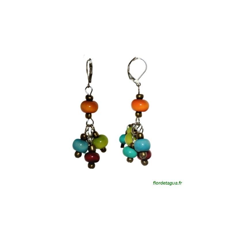Boucle d'oreilles Tokay multicolore en tagua