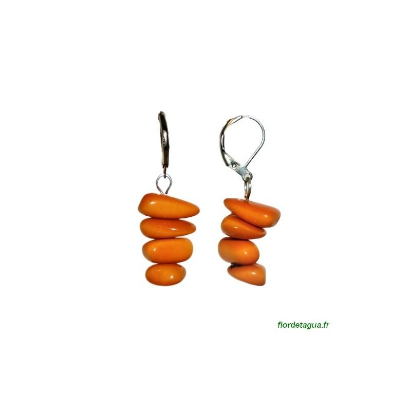 Boucles d'Oreilles Piedritas orange  en tagua