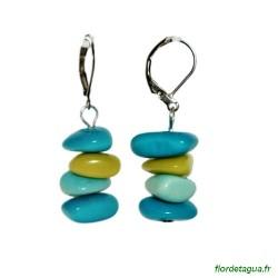 Boucles d'Oreilles Piedritas en tagua turquoise vert d'eau