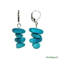 Boucles d'Oreilles Piedritas en tagua turquoise