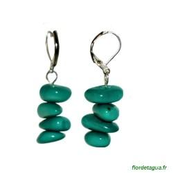 Boucles d'Oreilles Piedritas en tagua vert émeraude