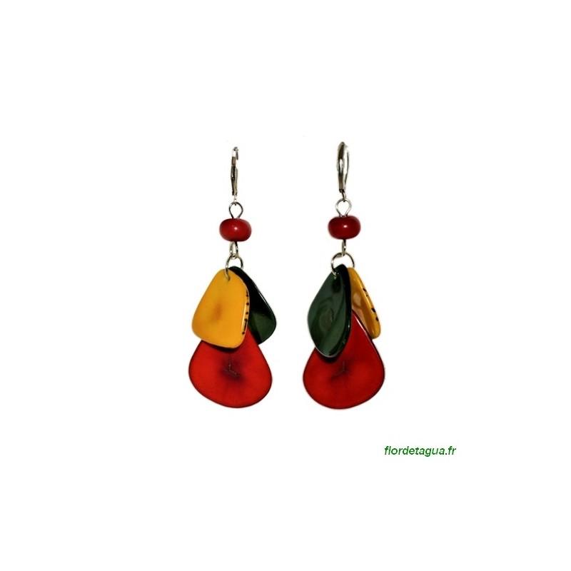 Boucles d'oreilles Mindo multicolore 1 en ivoire végétal