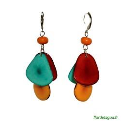 Boucles d'oreilles Mindo multicolore 2 en corozo