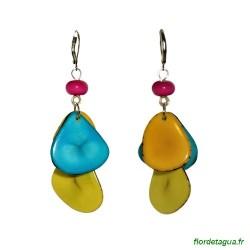 Boucles d'oreilles Mindo multicolore 3 en ivoire végétal