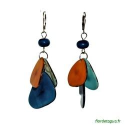 Boucles d'oreilles Mindo multicolore 4 en ivoire végétal