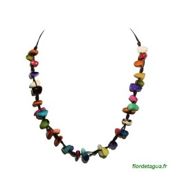 Collier Mozaïc multicolore en tagua