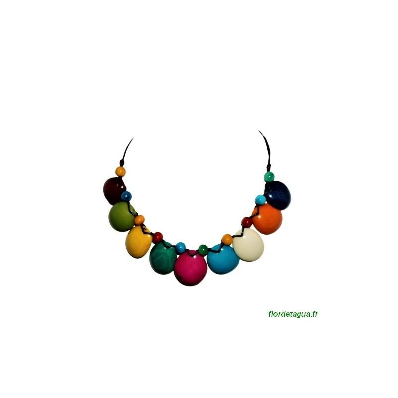 collier Luna multicolore en ivoire végétal