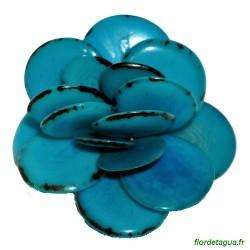 Broche Flor de Tagua turquoise 1