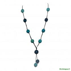 Sautoir Galaxie Azul et Turquoise 1 graines de palmiers forêt amazonienne