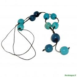 Sautoir Galaxie Azul et Turquoise 2 graines de palmiers forêt amazonienne