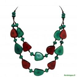 Collier Mindo vert émeraude et rouge 1