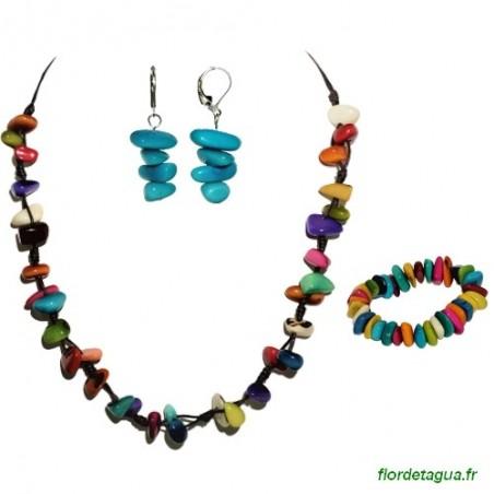 Parure Mozaïc multicolore en Tagua