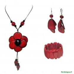Parure Sautoir Flor de Manabi rouge & noir en Tagua