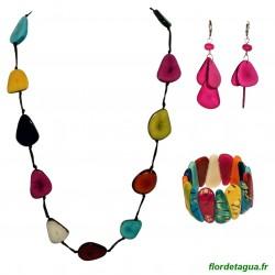 Parure Sautoir Mindo multicolore en Tagua