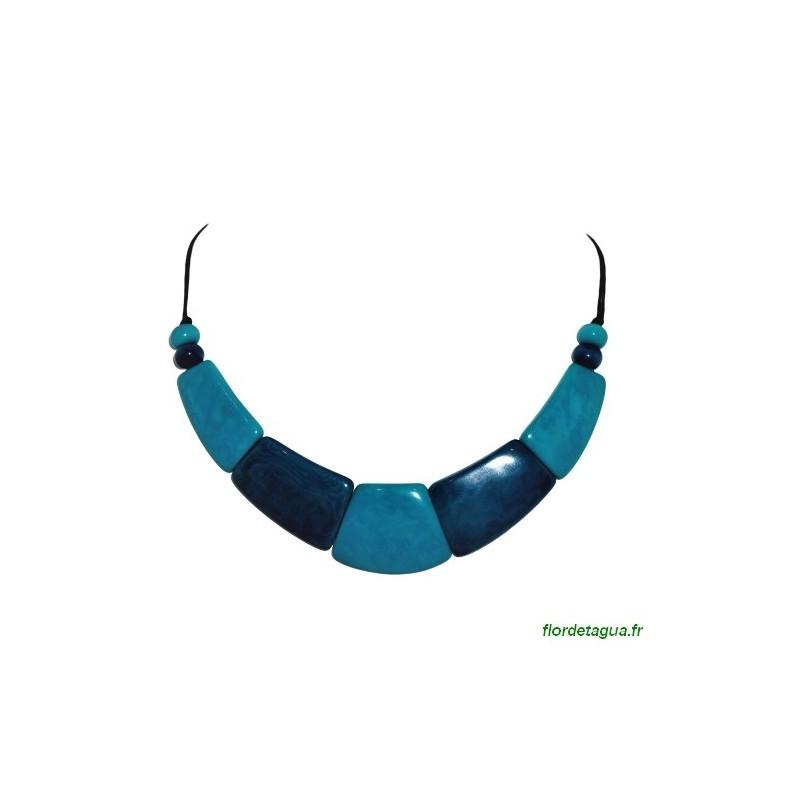 Collier Raz du Cou Camilly turquoise Bleu Marine  en ivoire végétal