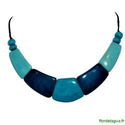 Collier Raz du Cou Camilly turquoise et bleu marine polido en ivoire végétal