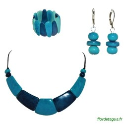 Parure Camilly Turquoise Bleu Marine en tagua