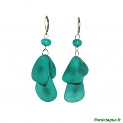 Boucles d'oreilles Mindo vert émeraude en tagua
