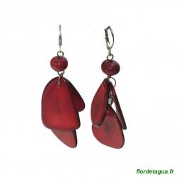 Boucles d'oreilles Mindo rouge en tagua