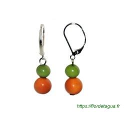 Boucles d'oreilles Isabela vert citron et orange en tagua