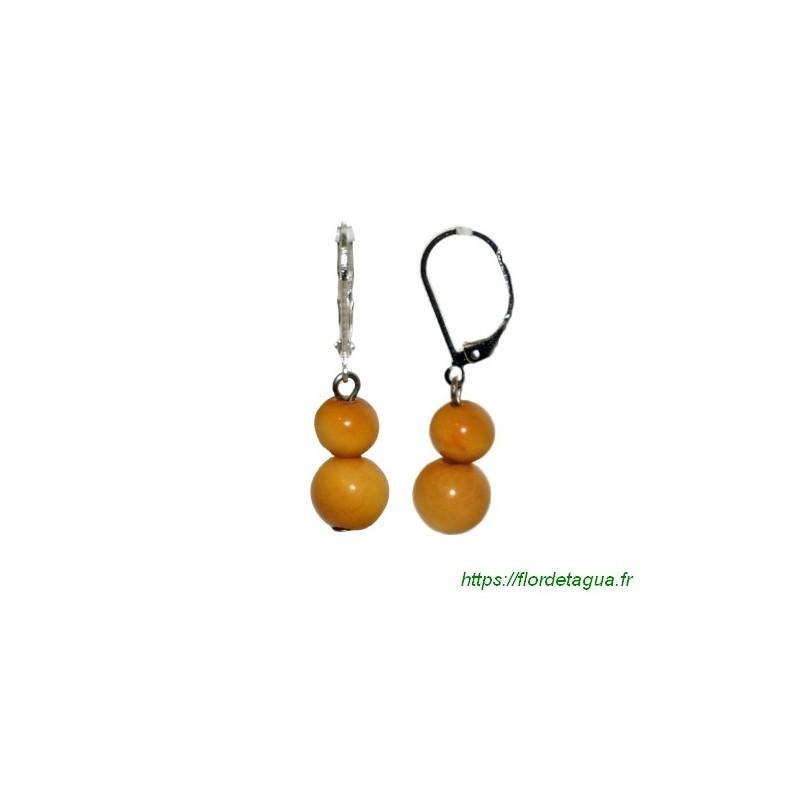 Boucles d'oreilles Isabela orange en tagua
