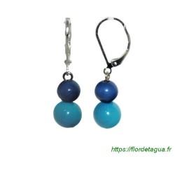 Boucles d'oreilles Isabela bleu marine et turquoise en tagua