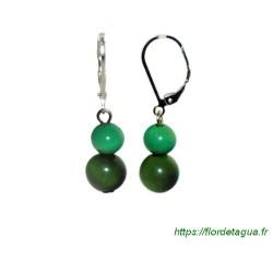Boucles d'oreilles Isabela vert émeraude en tagua