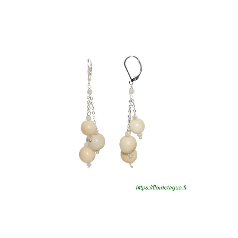 Boucles d'Oreilles divine couleur ivoire en tagua